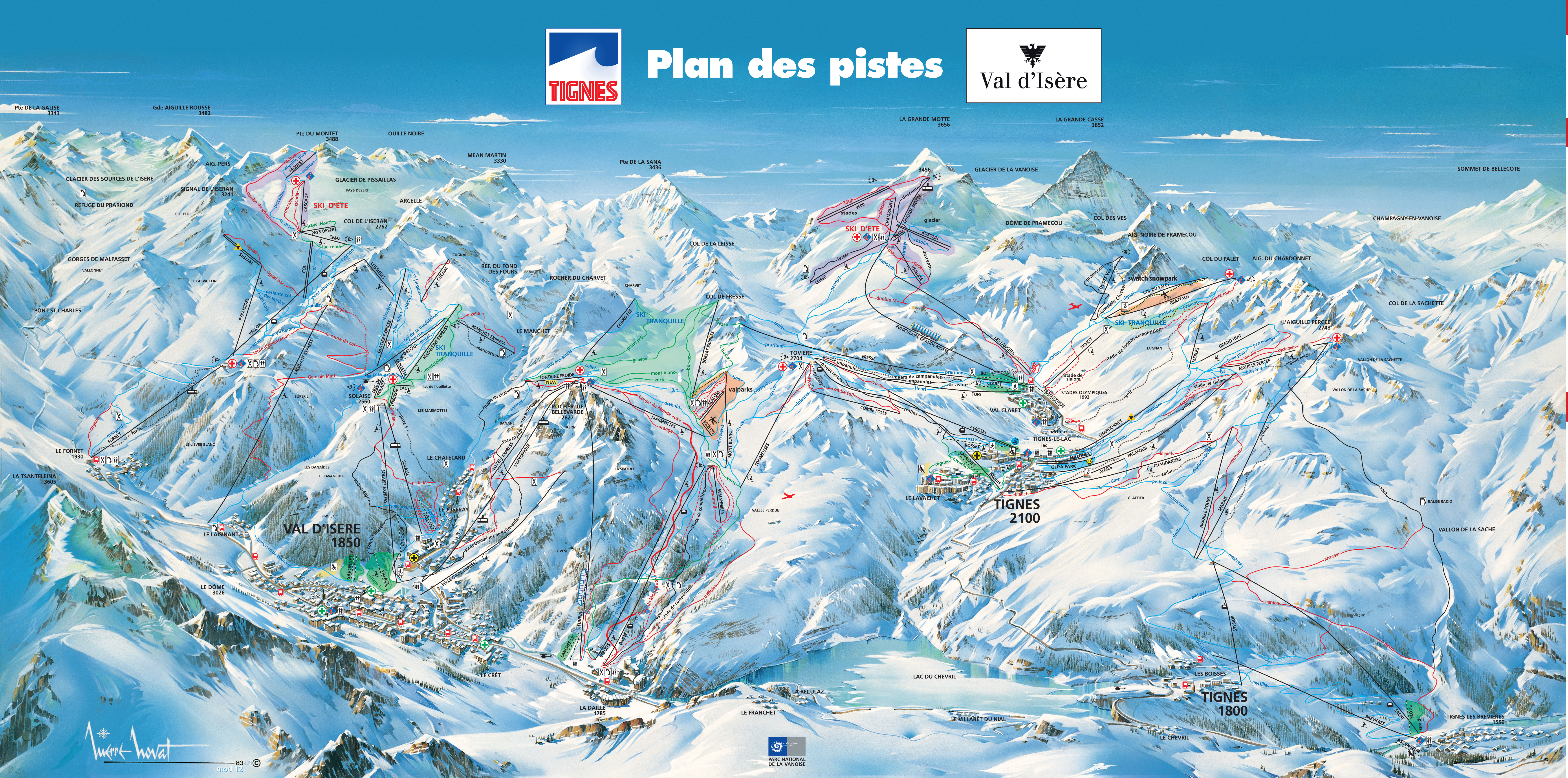 Val D Isere Ski Map Val d'Isere Piste Map Val D Isere Ski Map